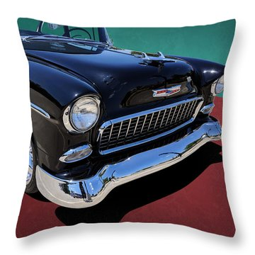 Classic Black And White 1950s Chevy Bel Air Throw Pillow