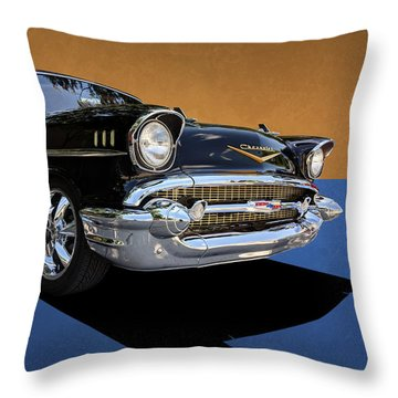 Classic Black Chevy Bel Air With Gold Trim Throw Pillow