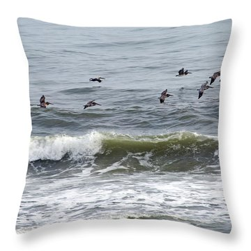 Classic Brown Pelicans Throw Pillow by Betsy Knapp