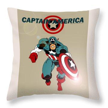 Classic Captain America Throw Pillow by Mista Perez Cartoon Art