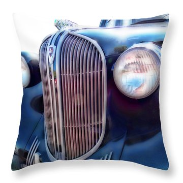Classic Car Grill 1938 Plymouth Throw Pillow by Ann Powell