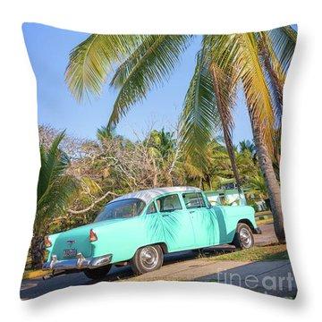 Classic Car In Playa Larga Throw Pillow