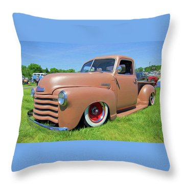 Classic Chevrolet Truck Throw Pillow by Marion Johnson