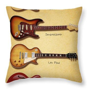 Classic Electric Guitars Throw Pillow