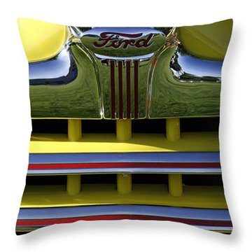 Classic Ford Chrome Grill Throw Pillow