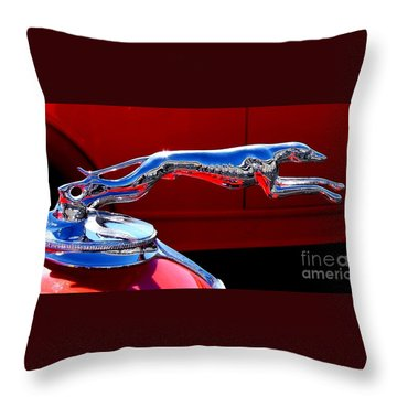 Throw Pillow featuring the photograph Classic Ford Greyhound Hood Ornament by Patricia L Davidson