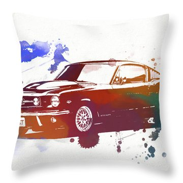 Classic Ford Mustang Watercolor Splash Throw Pillow by Dan Sproul