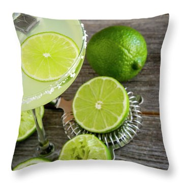 Throw Pillow featuring the photograph Classic Lime Margarita by Teri Virbickis