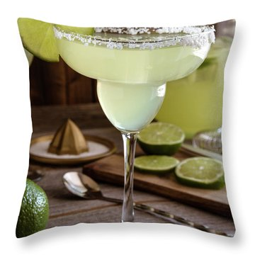 Throw Pillow featuring the photograph Classic Lime Margaritas On The Rocks by Teri Virbickis