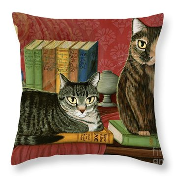Classic Literary Cats Throw Pillow