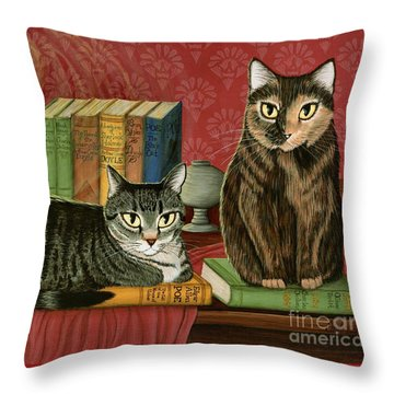 Classic Literary Cats Throw Pillow by Carrie Hawks
