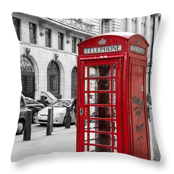 Red Telephone Box In London England Throw Pillow