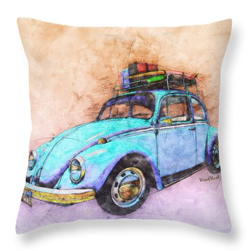 Classic Road Trip Ride Watercolour Sketch Throw Pillow