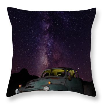 Throw Pillow featuring the photograph Classic Truck Under The Milky Way by James Sage