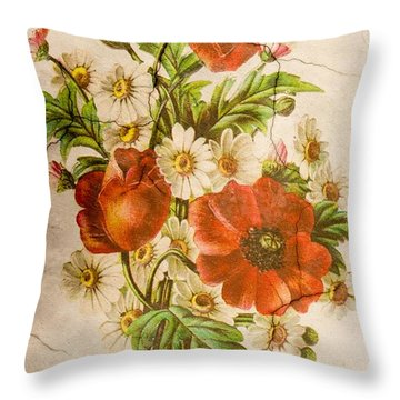 Classic Vintage Shabby Chic Rustic Poppy Bouquet Throw Pillow