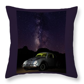 Throw Pillow featuring the photograph Classic Vw Bug Under The Milky Way by James Sage