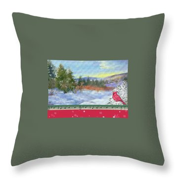 Classic Winterscape With Cardinal And Reindeer Throw Pillow