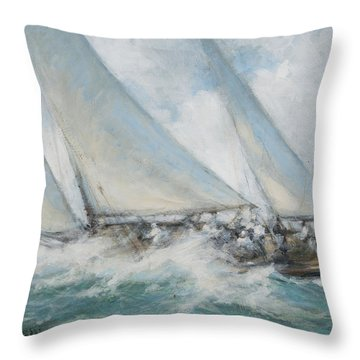 Classic Yacht  Twixt Wind And Water Throw Pillow