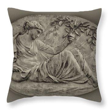 Classical Greek Woman Fresco Throw Pillow by Bill Cannon