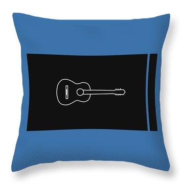 Classical Guitar In Blue Throw Pillow