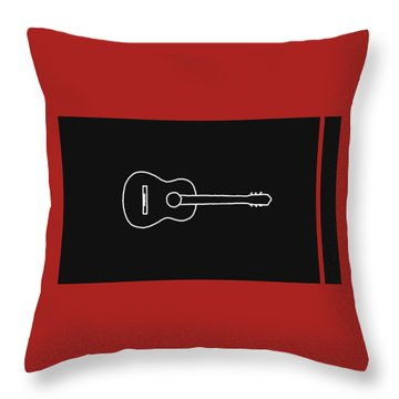 Classical Guitar In Orange Red Throw Pillow