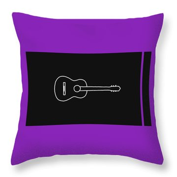 Classical Guitar In Purple Throw Pillow