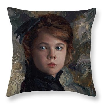 Throw Pillow featuring the painting Classical Portrait Of Young Girl In Victorian Dress by Karen Whitworth