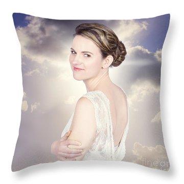 Classy Bride Enjoying Outdoor Wedding Throw Pillow