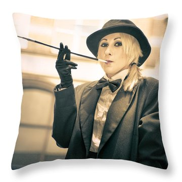 Classy Rich Woman Throw Pillow by Jorgo Photography - Wall Art Gallery