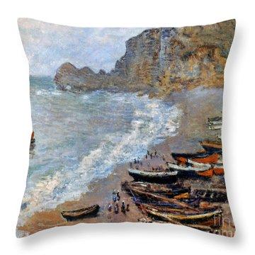 Claude Monet: Etretat, 1883 Throw Pillow by Granger