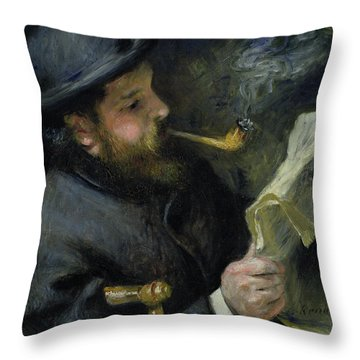 Claude Monet Reading A Newspaper Throw Pillow by Pierre Auguste Renoir