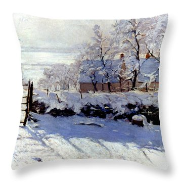 Throw Pillow featuring the photograph Claude Monet The Magpie - To License For Professional Use Visit Granger.com by Granger
