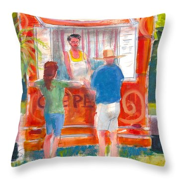 Throw Pillow featuring the painting Claudine's Crepes by Gertrude Palmer
