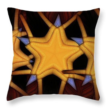 Throw Pillow featuring the digital art Clawed Stars  by Ron Bissett
