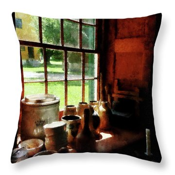 Throw Pillow featuring the photograph Clay Jars On Windowsill by Susan Savad