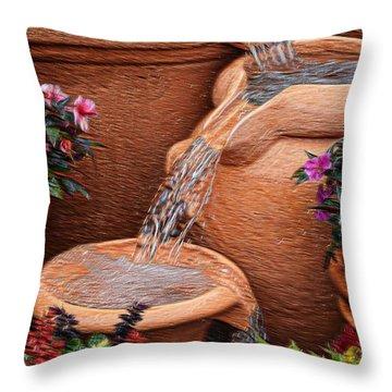 Clay Pot Fountain Throw Pillow