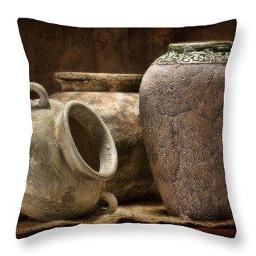 Clay Pottery II Throw Pillow by Tom Mc Nemar