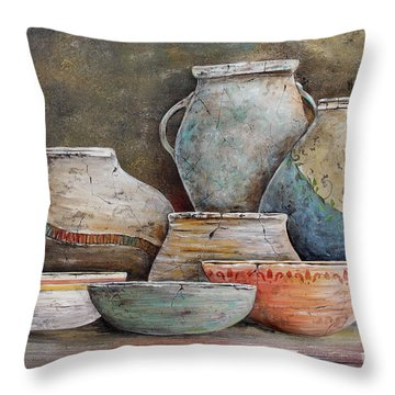 Throw Pillow featuring the painting Clay Pottery Still Lifes-a by Jean Plout