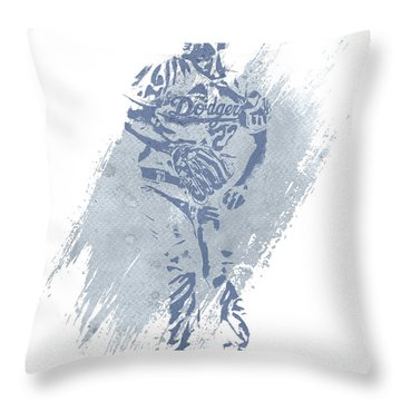 Clayton Kershaw Los Angeles Dodgers Water Color Art 2 Throw Pillow
