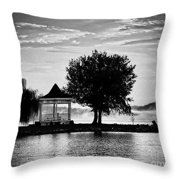 Claytor Lake Gazebo - Black And White Throw Pillow