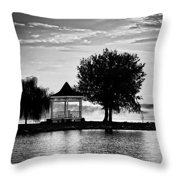 Claytor Lake Gazebo - Black And White Throw Pillow