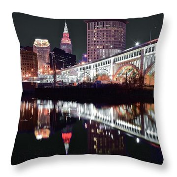 Throw Pillow featuring the photograph Cle In Selective Color by Frozen in Time Fine Art Photography