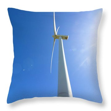 Clean Blue Energy Throw Pillow