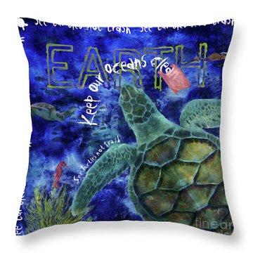 Throw Pillow featuring the digital art Clean Oceans Sea Turtle Art by Nola Lee Kelsey