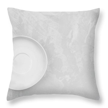 Throw Pillow featuring the photograph Clean White Dish And An Old Silver Spoon  by Andrey  Godyaykin