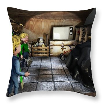 Throw Pillow featuring the painting Cleaned Up Attic by Dave Luebbert