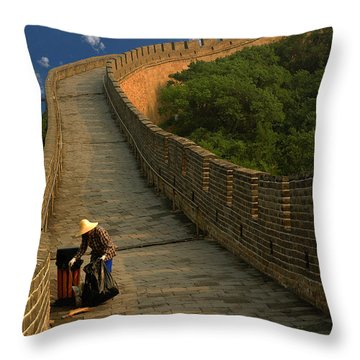 Cleaning The Great Wall Throw Pillow by Harry Spitz