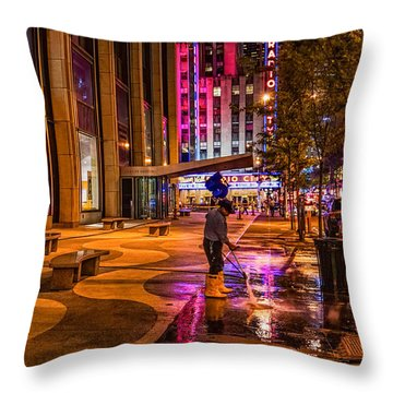 Cleaning With Neon Throw Pillow