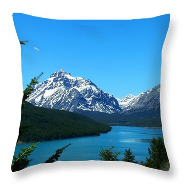 Clear Blue Lower Two Med Lake Throw Pillow