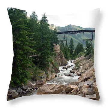 Clear Creek Colorado Throw Pillow by John Bushnell